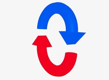 斜めを向いたループをイメージした赤と青の矢印の素材