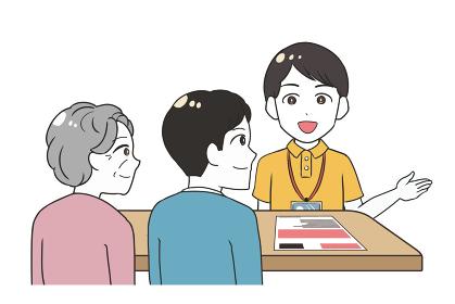 説明する男性介護士 祖母と息子