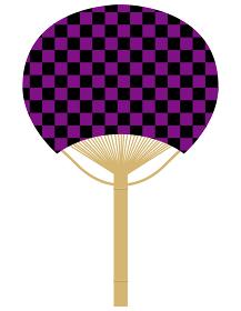 団扇うちわのイラスト_伝統文様伝統模様和柄市松模様紫