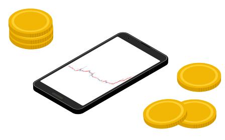 上昇チャートを示すスマホ画面と仮想通貨、アイソメトリック