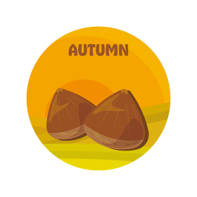 秋の味覚、栗とロゴ、アイコン