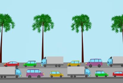 夏の旅行で渋滞が発生、3Dレンダリング
