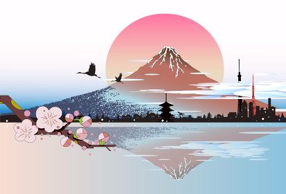 浮世絵風景、日本のランドマーク
