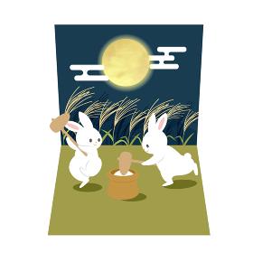 餅つきをするウサギの月見カード