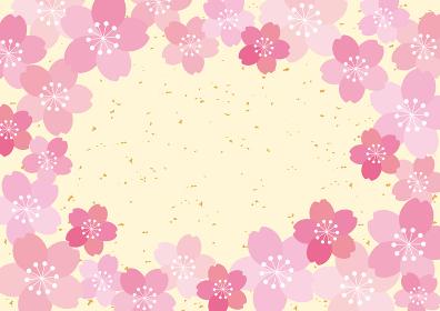和風 桜 POP チラシ フレーム 背景 ベクター 03