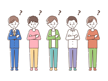 何かを考える5人の男性