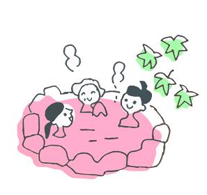 露天風呂に入る女性3人