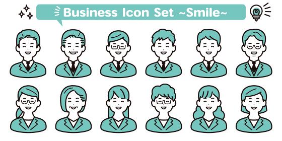 ビジネス シンプルな人物アイコン素材セット 笑顔