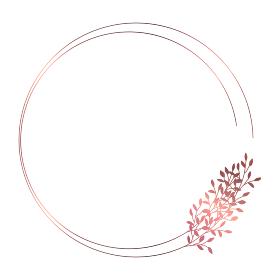 ピンクゴールドの小枝のフレームイラスト 2