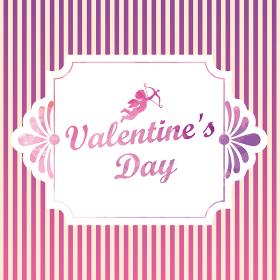 ロゴと天使とボーダークラシカルなバレンタイン販売促進用バナーポスターポップテンプレート