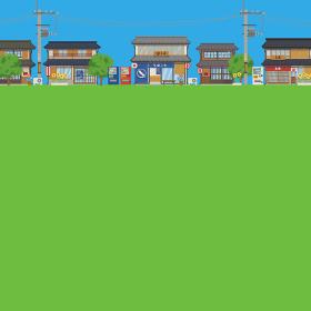 日本の夏の街並みの風景ベクターイラスト(背景、コピースペース、青空、芝生)
