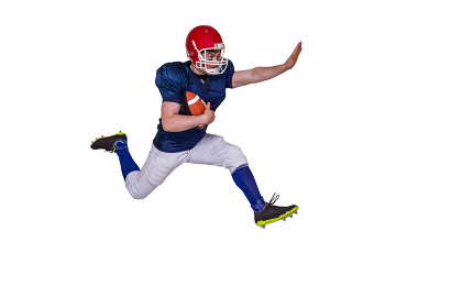 American football player jumping with the ball