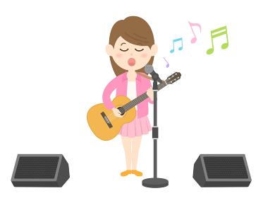 女性ミュージシャンのコンサートのイラスト