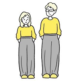 お揃いのルームウェアを着たカップルのイラスト