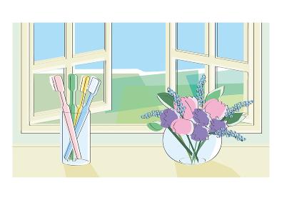 窓辺の花瓶と歯ブラシ
