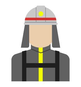 上半身シルエット人物イラスト (アジア人・日本人・白人) / 消防隊員