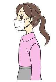 マスクを着けた横向きの女の子