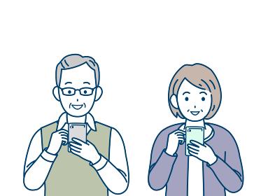 スマートフォンを操作する 老夫婦 シニア 高齢者 男女 電話 イラスト素材