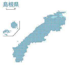 島根県の詳細地図中国地方 都道府県別ドット表現の地図のイラスト ベクターデータ