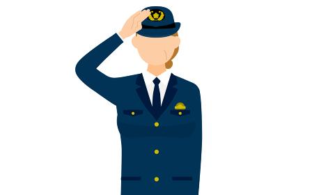 シニア女性警官のポーズ、敬礼