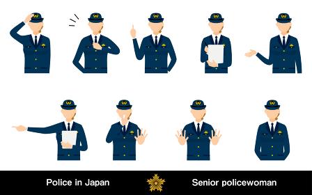 シニア女性警官のポーズセット9点、敬礼や制止、取り締まりなど