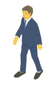 アイソメトリック図法。歩くビジネスパーソン