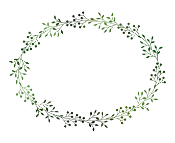 緑の小枝と実のフレームイラスト 3