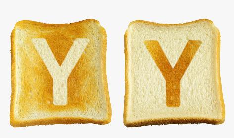 食パンに焼印風のアルファベットの大文字のY