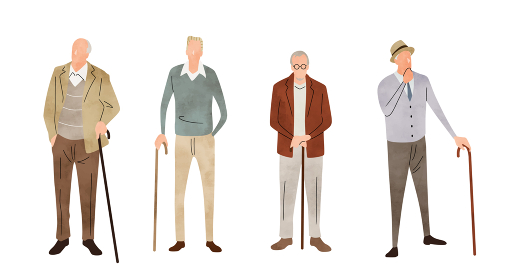 イラスト素材:シニア男性、セット、ライフスタイル