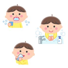 感染症予防/うがい、手洗い、水分補給をする男の子/輪郭線なし