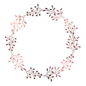 ピンクゴールドの小枝と実のフレームイラスト 1