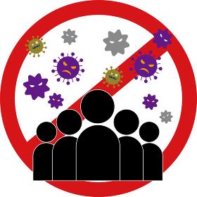 ウィルス:感染 空気感染 予防 予防方法 方法 避ける 説明 表 アイコン