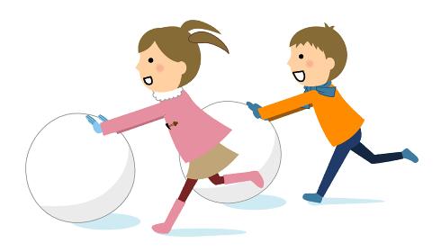 雪遊びをする子供達
