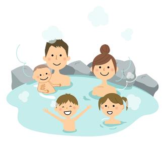 温泉に入る若い二世代家族