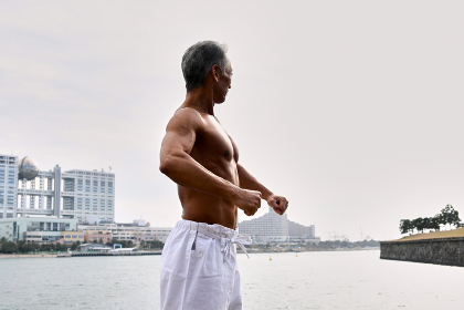 格闘技家 日本人、侍、シニア男性、空手家、武術家、柔道家、極真空手