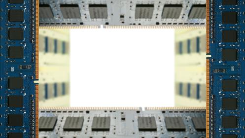 デスクトップパソコン用増設メモリで囲んだフレーム。白のコピースペース。8Kサイズ。