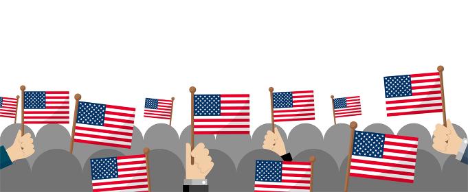 手持ち国旗 集団・群衆イラスト ( 愛国心・イベント・お祝い ・デモ) / アメリカ・USA