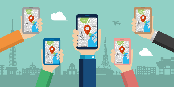 地図アプリを利用して東京観光しているイメージのwebバナー(観光・アプリ・地図・テクノロジー)