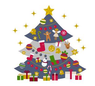 煌びやかなクリスマスツリーのイラスト