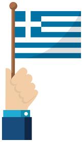 手持ち国旗イラスト ( 愛国心・イベント・お祝い・デモ ) / ギリシャ