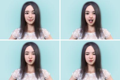 少女の様々な表情(得意げな笑顔・発声・アンニュイ・不機嫌)