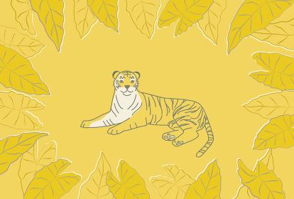 横たわる虎とアロカシアのフレームのイラスト(黄色背景バージョン)