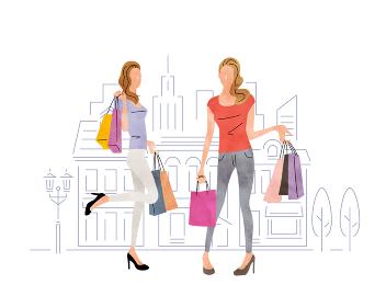 イラスト素材:ショッピング、買い物をする女性たち