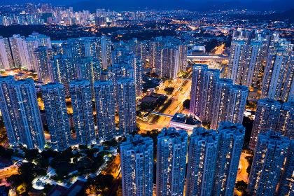 Tin Shui Wai, Hong Kong 02 September 2018:-Hong Kong residential city in the evening