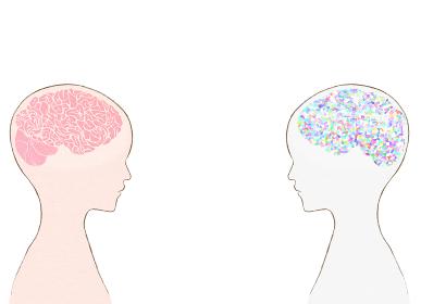 人間の脳みそと対峙するAI 人類の頭脳と人工知能