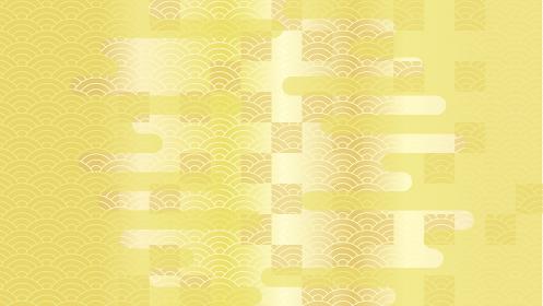 市松模様、青海波、霞の背景イラスト