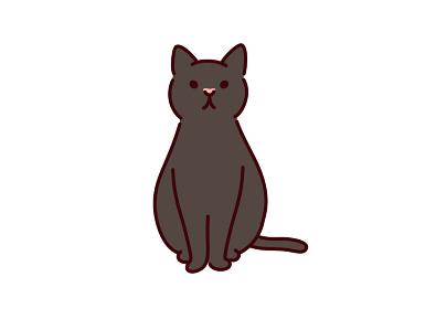 シンプルかわいい猫・座っている黒猫のイラスト