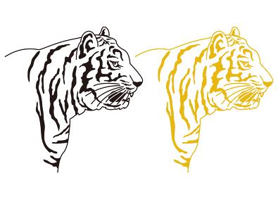 リアルタッチな虎のイラスト2バリエーション