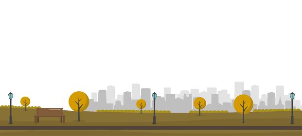 自然のある公園(人々の日常風景)横長バナーイラスト / 秋・冬