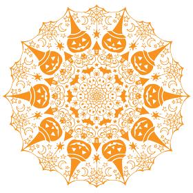 ハロウィンの曼荼羅イラスト素材 オレンジ